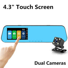 "4.3"" Touch Screen DVR Camera Review Mirror Night Vision Full HD 1080P Dual Lens"