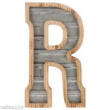 LARGE Wood & Galvanized Metal Letter - R Marquee sign Wall Decor Garage Office