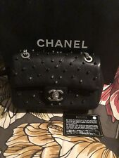 CHANEL Classic Flap Black Studded Lambskin Leather Bag Rare Silver Clutch Case
