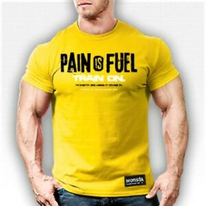 Pain Is Fuel Train On Men's Monsta Clothing Bodybuilding Workout T-Shirt: Yellow