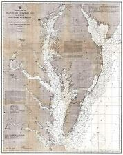 MAP ANTIQUE 1866 USCS DELAWARE CHESAPEAKE BAY LARGE REPLICA POSTER PRINT PAM1874