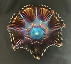 Antique Imperial Carnival Glass Bowl Shell & Sand Pattern in Amethyst