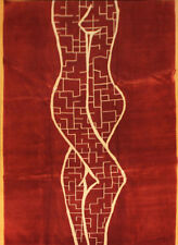 Contemporary Hand Knotted 100% Wool Tibet Red Rug 6' x 9' Handmade in Nepal