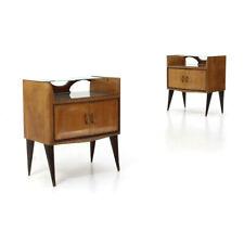 Piano in vetro Comodino in legno anni /'50 Vintage Design.