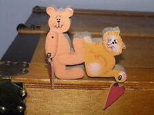 Handmade and Painted Carved Wood Teddy Bear Pushing Kitty Cat with Dangle Hearts