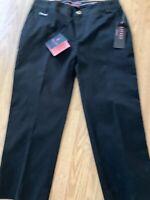 New Womens Ralph Lauren LRL Active Pink Black Crop Pants Stretch Capris Size 2