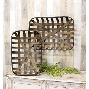 Set of 2 Long Tobacco Baskets country farmhouse decor