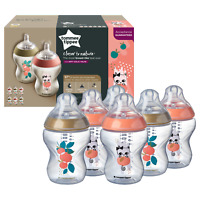6 Tommee Tippee Baby Bottles 260ml, Closer to Nature Catch Me Quick - Gold/Peach