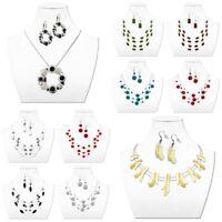 Modeschmuck Set Damen Halskette + Ohrringe Ohrstecker Mehrfachkette Kurz Collier