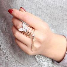 1 Pc Inlay Rhinestone Tassel Butterfly Spiral Rings Multilayer Elegant Jewelry
