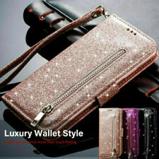 Fr iPhone 11 Pro Max SE Case Glitter PU Leather Magnetic Flip Wallet Slots Cover
