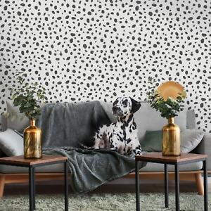 Holden Dalmatian Print Black White Dotty Animal Print Monochrome Wallpaper 12940