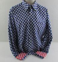 Tommy Hilfiger Men's XL Shirt Blue, White, Red Gingham Checked Flip Cuff