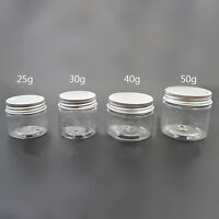 1X New Empty PET Jars Aluminum Lids Clear Silver Plastic Cosmetic Free Shipping