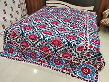 Queen Uzbekistan Embroidered Floral Cotton suzani bed cover Bedspread in double