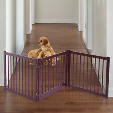 """24"""" Pet Fence Gate Free Standing Dog Gate Indoor Solid Wood Construction"""