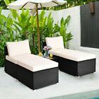 5pcs Patio Rattan Wicker Furniture Set Armless Sofa Ottoman Cushioned Garden