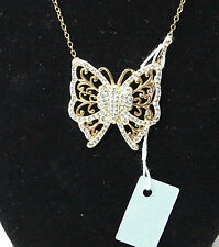 Genuine Crystal Gold Vermeil 925 Sterling Silver 18 in Butterfly Necklace New
