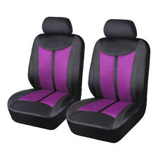 Purple-car-seat-covers-protectors-front pair mesh-PU-Leather-quality-breathable
