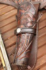 "NEW 44/45 Cal Tooled Holster Gun Belt Drop Loop LEATHER Western RIG SASS 34""-52"""