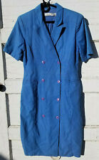 VINTAGE Waitress Uniform Dress Blue Button Down