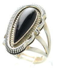 American Navajo Sterling Silver H CHACKEE / Artie Yellowhorse Onyx Ring Sz-7 '