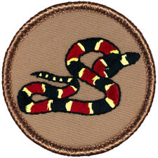 Snake Coiled On Flag 7x4 Inch MC Club Iron On Biker Jacket Patches LOT OF 2