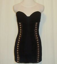 BEAUTIFUL SASS&BIDE BLACK COTTON BUSTIER BODY CON DRESS US 6 AUS 10