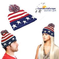 CAPPELLO INVERNALE  CON PON PON USA STATI UNITIPON STAR STRIPES AMERICA STOCK