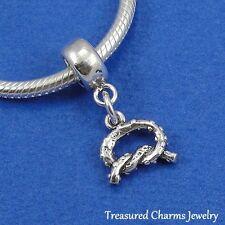 .925 Sterling Silver PRETZEL TWIST Dangle Bead CHARM fits EUROPEAN Bracelet