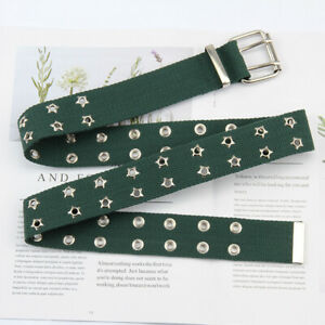 Harajuku Weaving Wide Belt Hollowing Out Canvas Web Double Grommet Hole Belt New