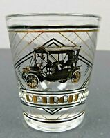 "Vtg Detroit Collectible Classic Car Shot Glass 2.25"" Gold Black Design Souvenir"