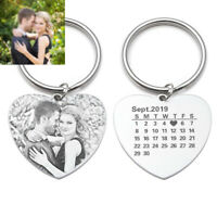 Customized Photo Keychain Picture Heart Calendar Key Chain Gift for Girlfriend