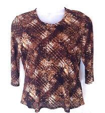 Coldwater Creek XL Brown Top 3/4 Sleeves Round Neck Polyester