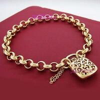 Womens Real Solid 18ct Yellow Gold GF Bracelet Bangle Chain Rings Clasp Padlock