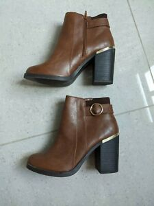 Ladies Tan Ankle Boots Size 8 New Look