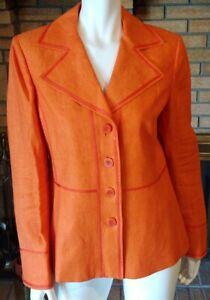 Linda Allard Ellen Tracy Orange Linen 4 Button Blazer Size 8