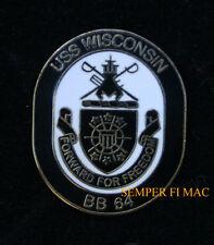 USS WISCONSIN BB-64 LOGO HAT LAPEL PIN BATTLESHIP SAILOR CHIEF OFFICER US NAVY