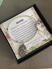 Alex And Ani Mom Bracelet Silver NWT In Box Generosity Heroism Love Bangle Charm