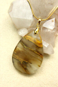 Clear & Golden Brown Polished AGATE Teardrop PENDANT Necklace Gold-plated Bale