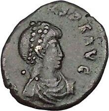 ARCADIUS 383AD Ancient Roman Coin VICTORY Nike  Chi-Rho Christ Monogram i42586
