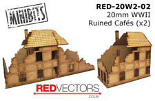 RED-20W2-02 - 20mm Wargames - Ruined Cafes x 2 (for WWII)