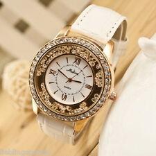 FL:Neu Damenuhr Lederarmbanduhr Armbanduhr Quarzuhr Strass Watch Geschenk Weiß