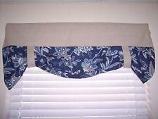 NEW~Tan/Waverly P/K Lifestyles Barano Indigo Blue Bottom Tie-Up Valance Curtains