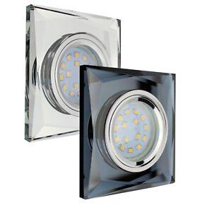 LED Einbau-Strahler Glas Decken Kristall Leuchte Deckenspots GU10 230V Eckig