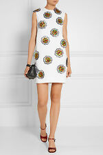 VICTORIA VICTORIA BECKHAM White Sequin Floral Crepe Shift Dress