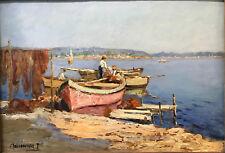 Joseph Meissonnier (1864-1943) Pêcheurs - Huile sur panneau v 82