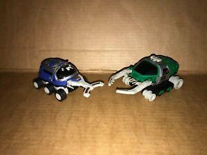 2 Big Bad Beetleborgs AV Vehicles - Blue Stinger, Green Hunter - Bandai - 1996
