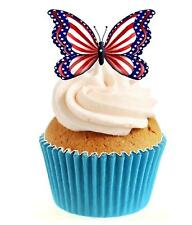 Novelty American Butterfly 12 Edible Stand Up wafer paper cake toppers birthday