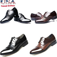 Business Mens New Dress Formal Oxfords Leather Shoes Flat Lace Up Casual Loafers